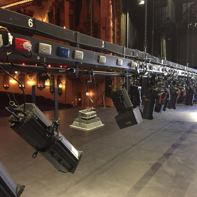 Stage lighting on elevated bar