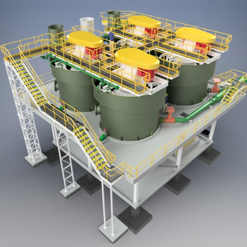 3D model of tanks and gantry from top