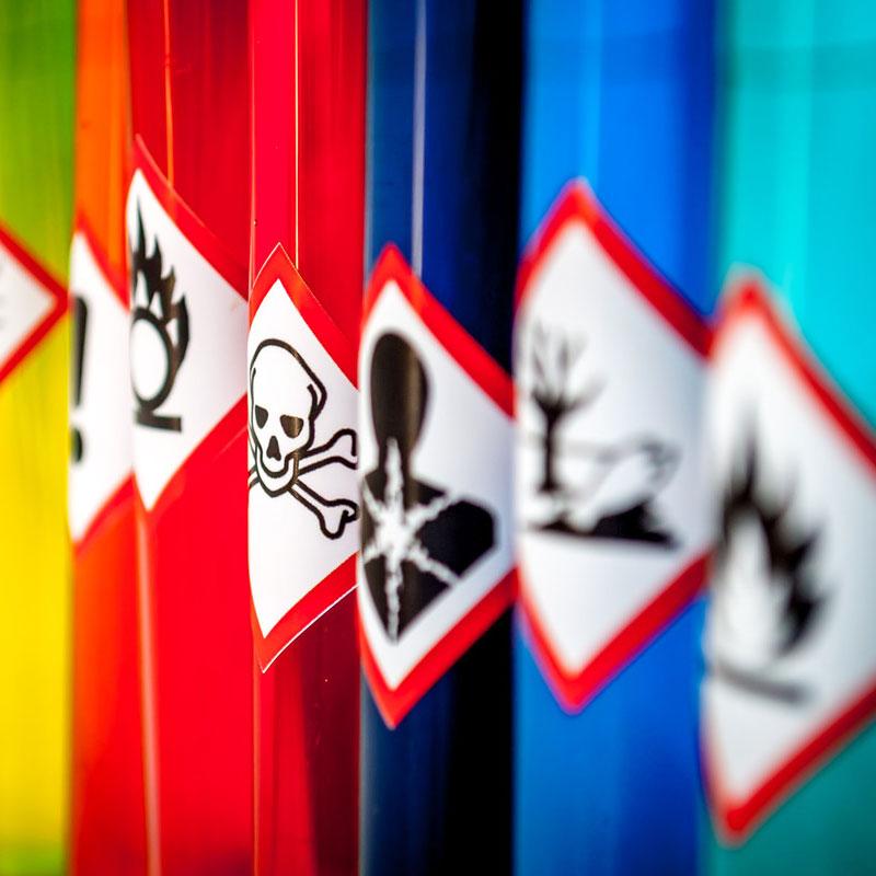 Row of cylinders of hazardous chemicals