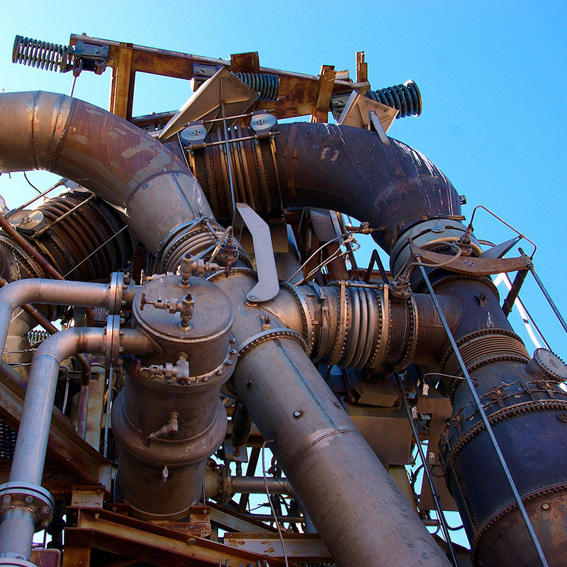 Network of metal pipes