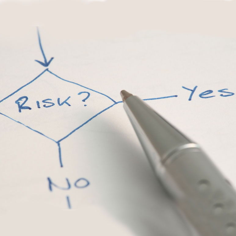 Decision node in flow chart – risk, yes or no